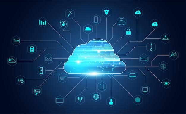 ビッグデータとアイコン接続を備えた抽象的なクラウドテクノロジー