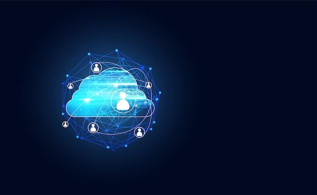 ビッグデータとピープルコネクションを備えた抽象的なクラウドテクノロジー