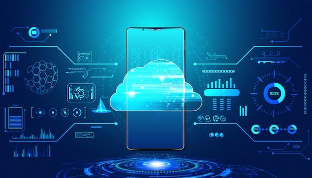 ビッグデータとスマートフォン接続を備えた抽象的なクラウドテクノロジー