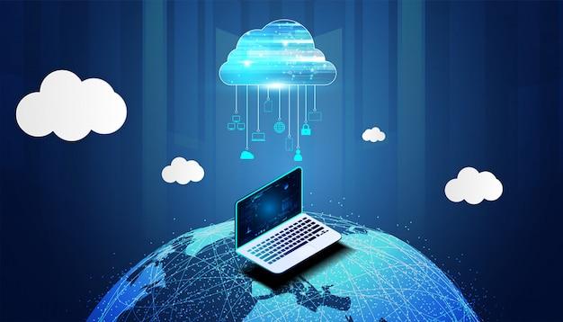 ビッグデータと世界のインターネット接続を備えた抽象的なクラウドテクノロジー