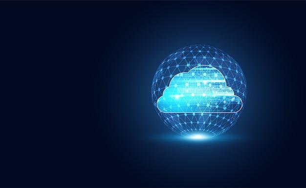 ビッグデータと接続を備えた抽象的なクラウドワールドテクノロジー