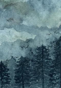 Абстрактное облачное ночное небо с сосновым лесом