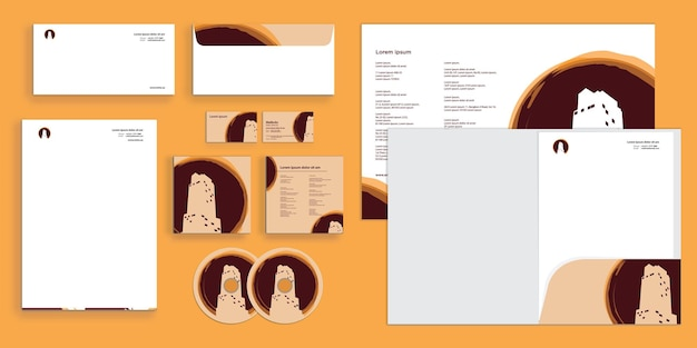 Abstract coffee mark with real estate logo residential modern corporate business identity stationary