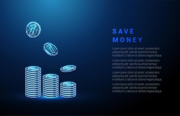 抽象コインは落下コインとスタックします。お金の節約の概念。低ポリスタイルのデザイン。青い幾何学的な背景。ワイヤーフレームライト接続構造。