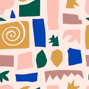現代的なトレンディなスタイルの抽象的なコラージュのシームレスなパターン。布、カバーデザイン、パッケージに印刷するためのランダムにカットされた紙片からの幾何学的形状のベクトル背景