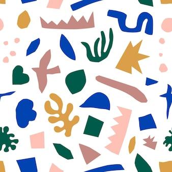 현대 유행 스타일에 추상 콜라주 완벽 한 패턴입니다. 기하학적 모양의 벡터 배경
