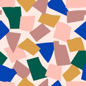 ミニマリストのトレンディなスタイルの抽象的なコラージュのシームレスなパターン。パステルカラーの幾何学的形状のベクトルの背景。布地への印刷、カバーデザイン、パッケージング用にランダムにカットされた紙