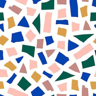 미니멀리스트 유행 스타일에 추상 콜라주 완벽 한 패턴입니다. 파스텔 색상의 기하학적 모양의 벡터 배경입니다. 직물, 표지 디자인에 인쇄하기 위해 무작위로 자른 종이 조각