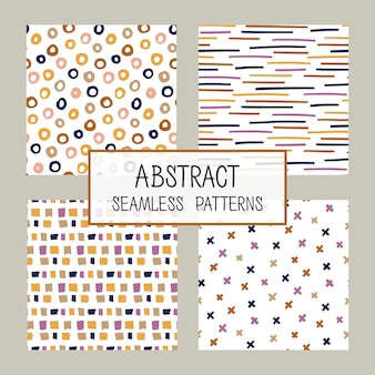 Abstract collage seamless patterns set.