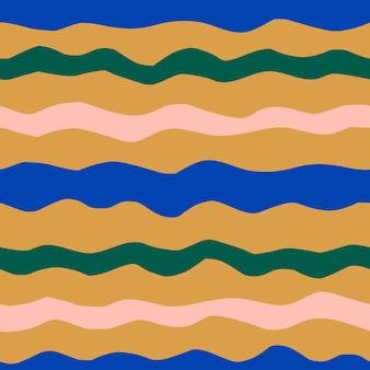 ミニマリストのトレンディなスタイルの抽象的なコラージュ波状シームレスパターン。ストライプのベクトルの背景は、生地、カバー、パッケージに印刷するためのマスタード、青、ピンクの色で紙片をカットしました