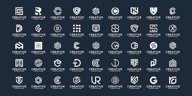 이니셜 a ~ z 로고 디자인 모노그램 스타일의 추상 컬렉션