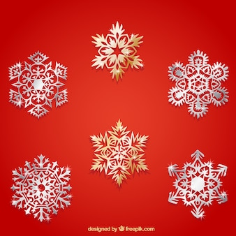 Abstract collection of metallic snowflakes
