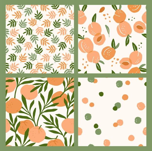 Абстрактная коллекция бесшовных паттернов с абрикосами и апельсинами.