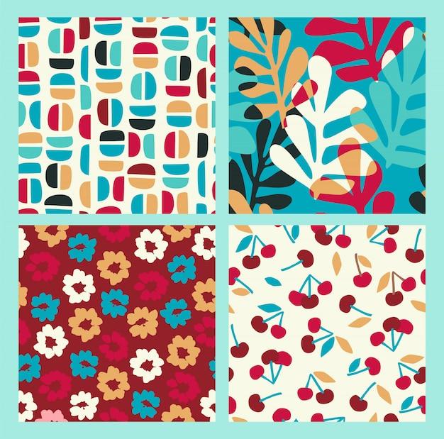花、桜、葉と幾何学的形状のシームレスパターンの抽象的なコレクション