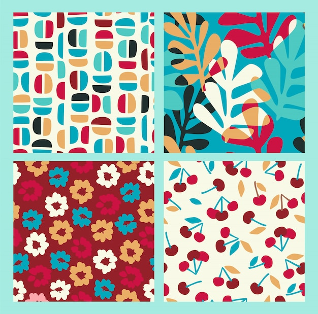 Abstract collection of seamless patterns with flowers, cherry and leaves and geometric shapes
