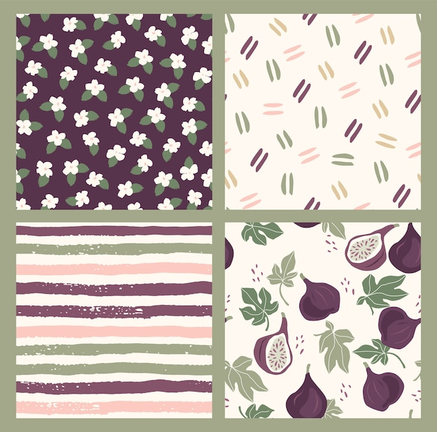 Abstract collection of seamless patterns with flowers, figs, stripes and geometric shapes. modern design for paper, cover, fabric, interior decor and other users.