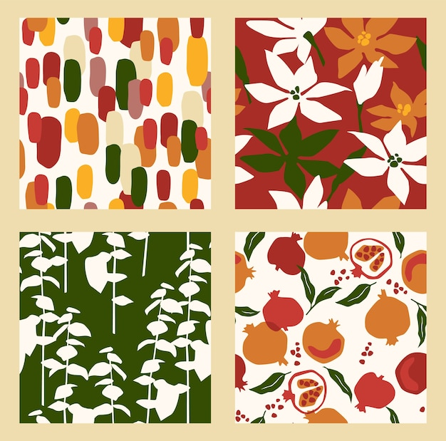 Abstract collection of seamless patterns with flowers, and leaves and pomegranates. modern design for paper, cover, fabric, interior decor and other users.