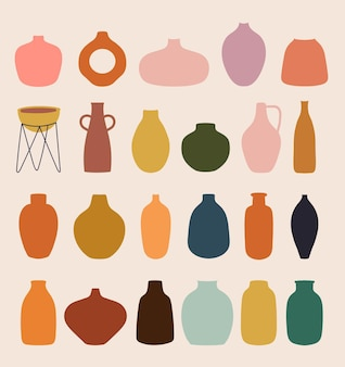 Abstract collection with different vases