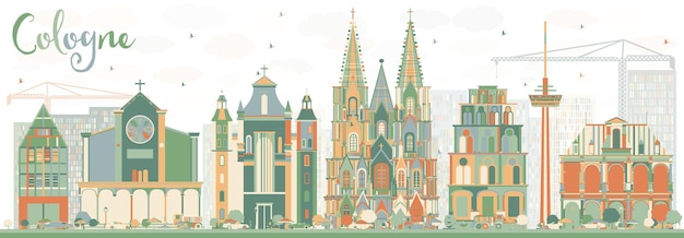 Абстрактный горизонт кельна с цветными зданиями. векторные иллюстрации. деловые поездки и концепция туризма с исторической архитектурой. изображение для презентационного баннера и веб-сайта.