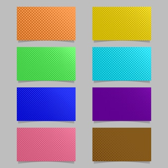 Abstract color halftone dot pattern business card background template design set - vector illustration with colored circles