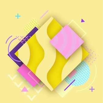 Abstract color poster in trendy style with geometric shapes