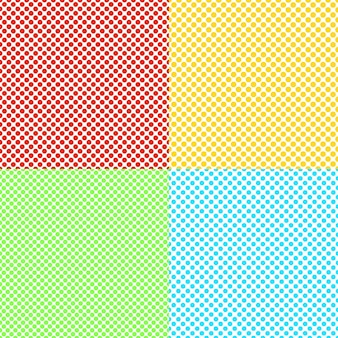 Abstract color seamless dot background pattern set - vector graphics from colored circles