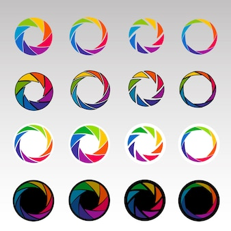 Abstract color shapes. spiral shape, aperture shapes. shutters