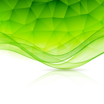 Abstract color template background with wave and low poly