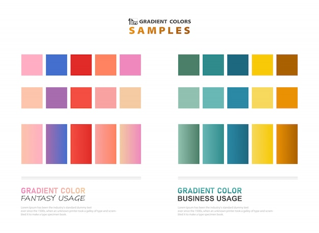 Abstract color theme gradient samples for usage