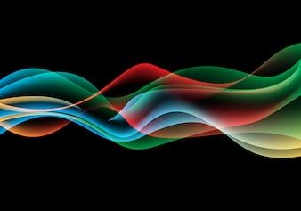 Abstract color wave smoke on black background.