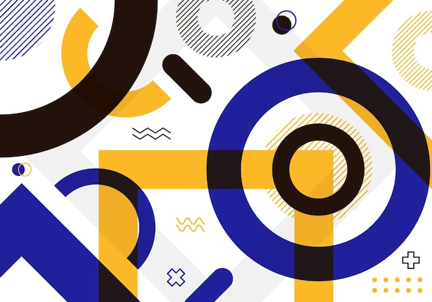 흰색 바탕에 추상적인 색된 기하학적 모양 패턴 구성 디자인. 벡터 일러스트 레이 션