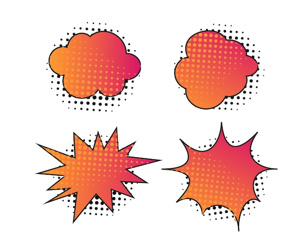 Abstract colored graphic bubble design with halftone