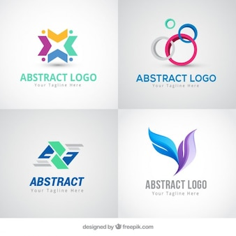 Abstract colored logos in modern style