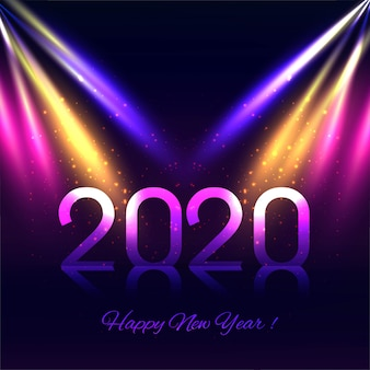 Abstract colorful 2020 new year greeting card