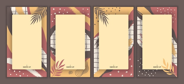 Abstract colorful background frame story template. rectangular frame design . contemporary art vintage trendy hand drawn various organic shape for stories promotion banner