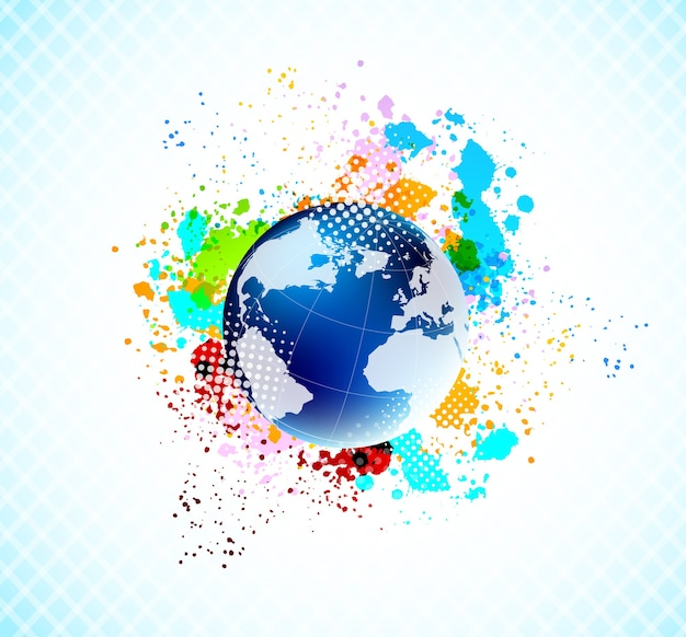 Abstract colorful background with blue globe and colorful grunge splashes.