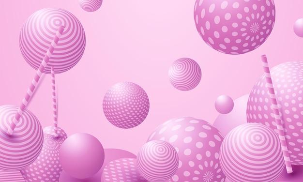 抽象的なカラフルなボール。ピンクのキャンディーは無重力で飛ぶ。混沌とした散乱紙吹雪球。お祝いパーティーの壁紙。