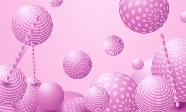 Sfere colorate astratte. le caramelle rosa volano a gravità zero. sfere di coriandoli a dispersione caotica. carta da parati festa festiva.