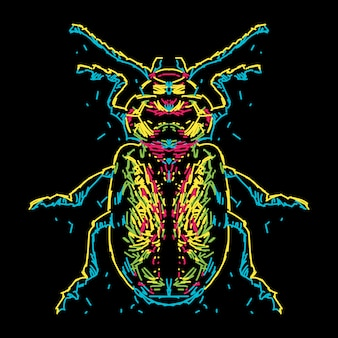 Abstract colorful beetle illustration