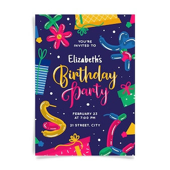 Абстрактный красочный день рождения пригласительный билет