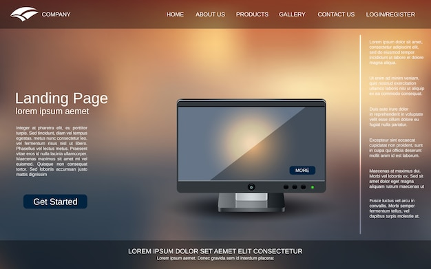 Abstract colorful blurred landing page design template