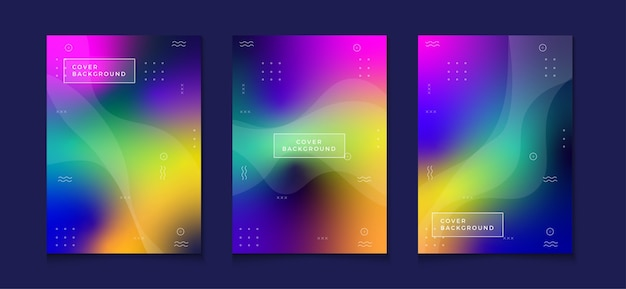 Abstract colorful book cover design set