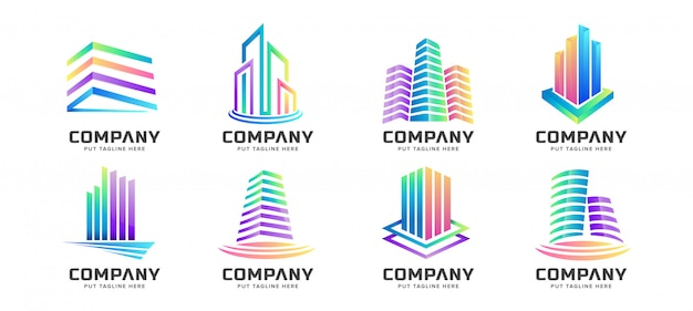 Abstract colorful building tower logo collection for business
