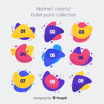 Abstract colorful bullet point collection