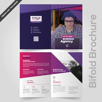 Abstract colorful business bifold brochure design