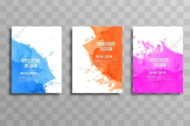 抽象的なカラフルなビジネスパンフレットのテンプレート水彩セット