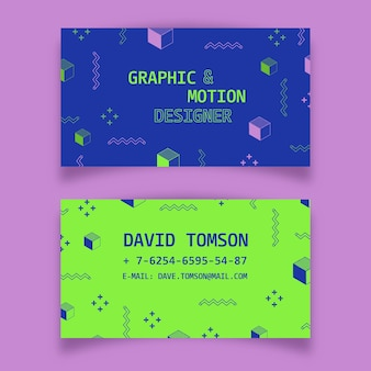 Abstract colorful business card collection template