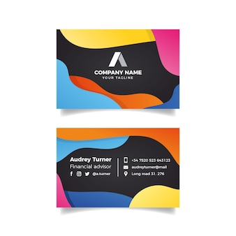 Abstract colorful business card template theme