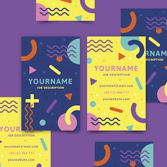Abstract colorful business card template with lines and shapes