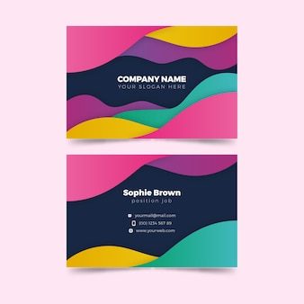 Abstract colorful business card template with waves